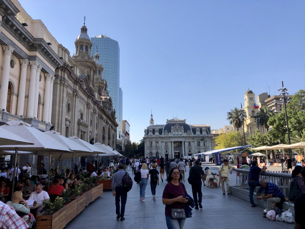 A photo of Plaza de Armas in Santiago. It's the main square in the city with European influences on the building.