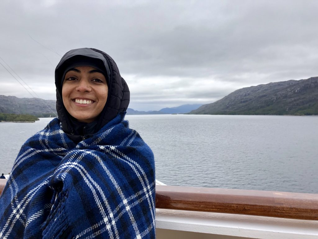 A photo of me bundled up on the cruise ship