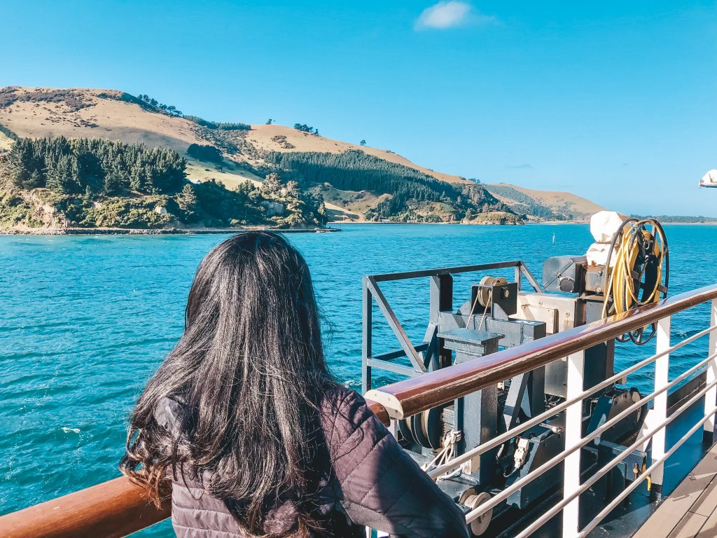 Me standing on the deck of a Holland America ship looking at a view of the rolling, green hills in New Zealand