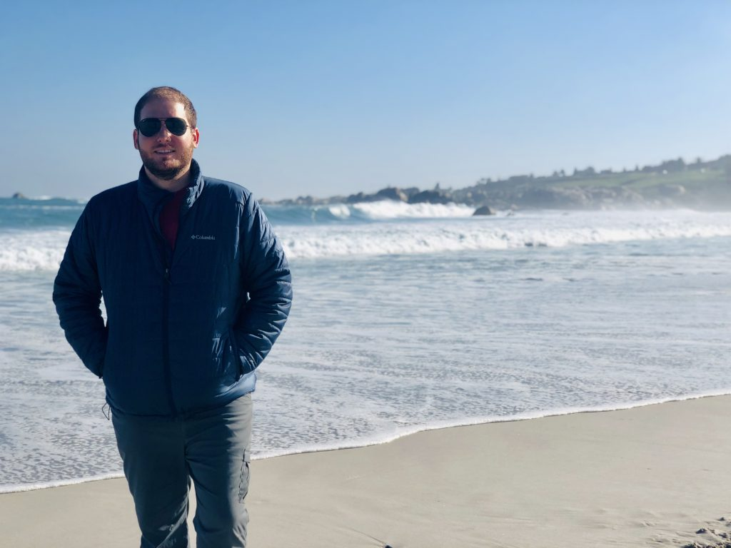 a photo of my husband at the beach in camps bay