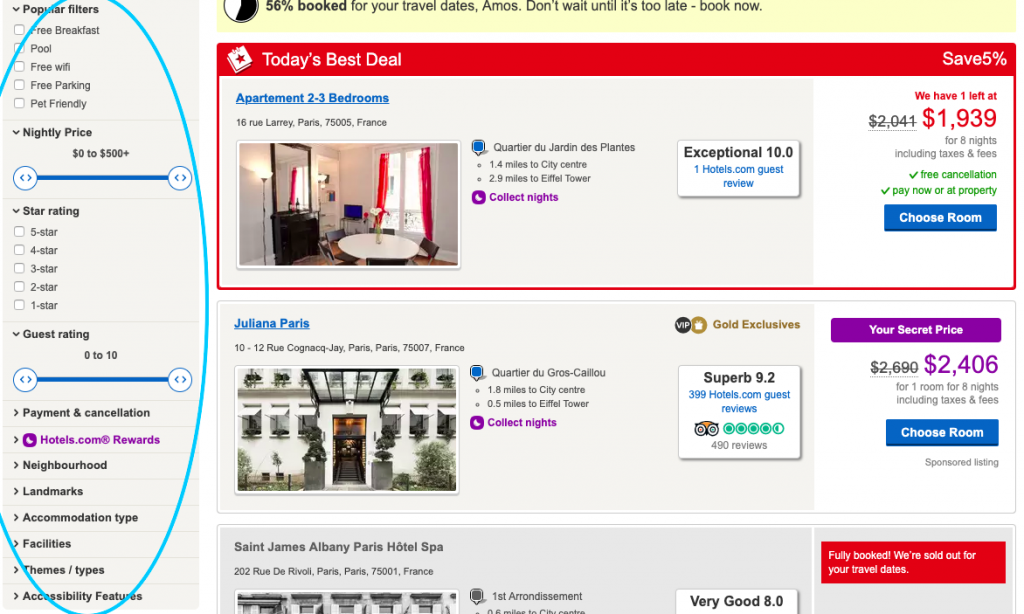 A screenshot showing different filters you can apply when searching for hotels.
