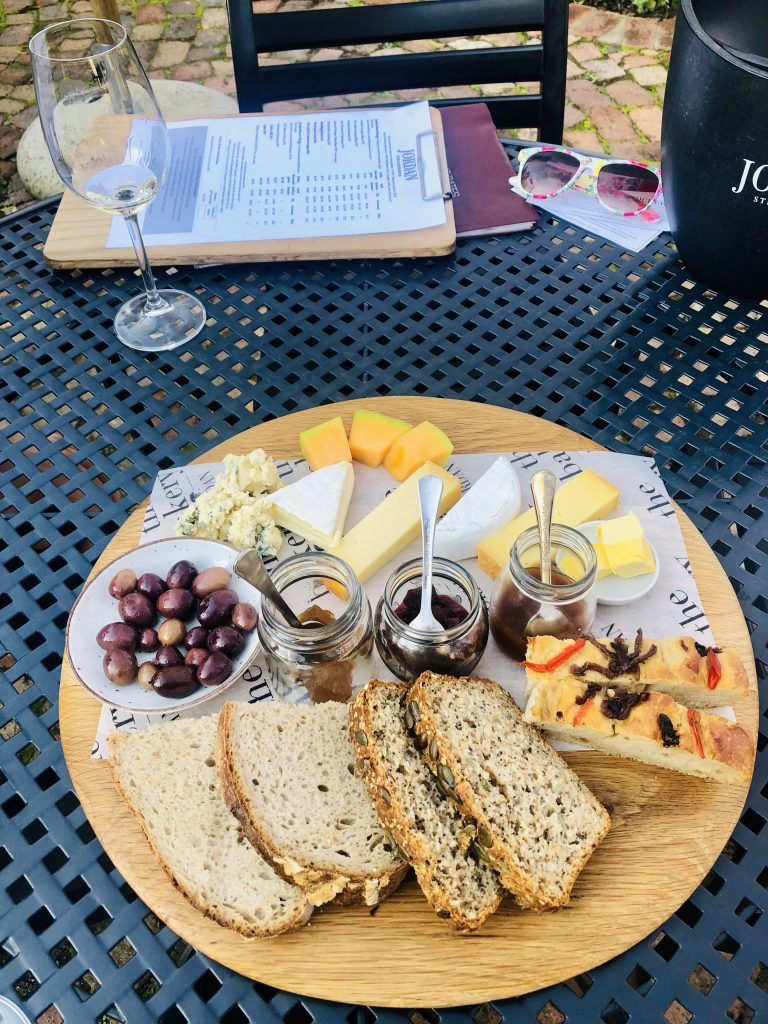 a photo of a cheese platter at jordan wine estate