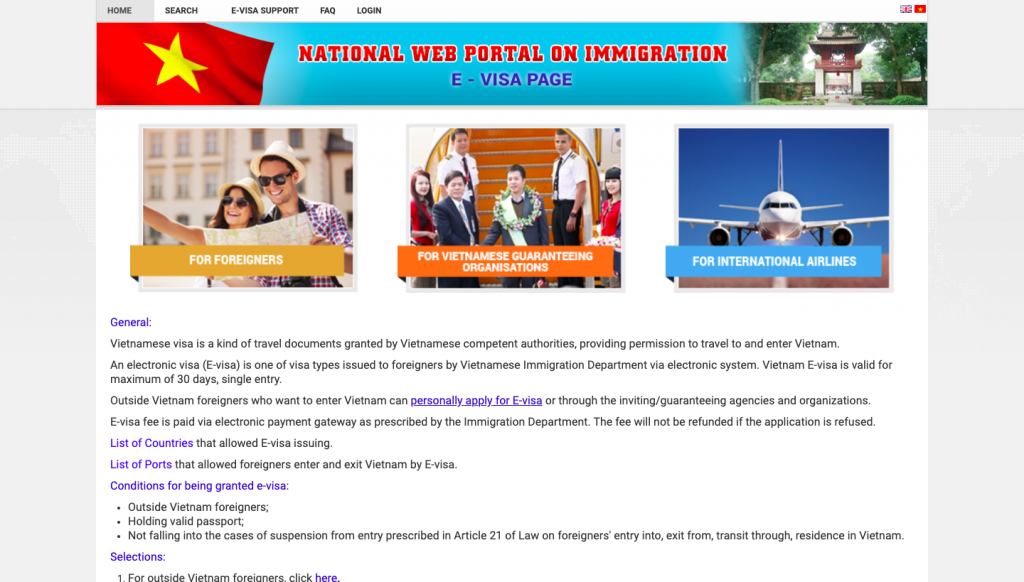 A screenshot of the immigration website for Vietnam.