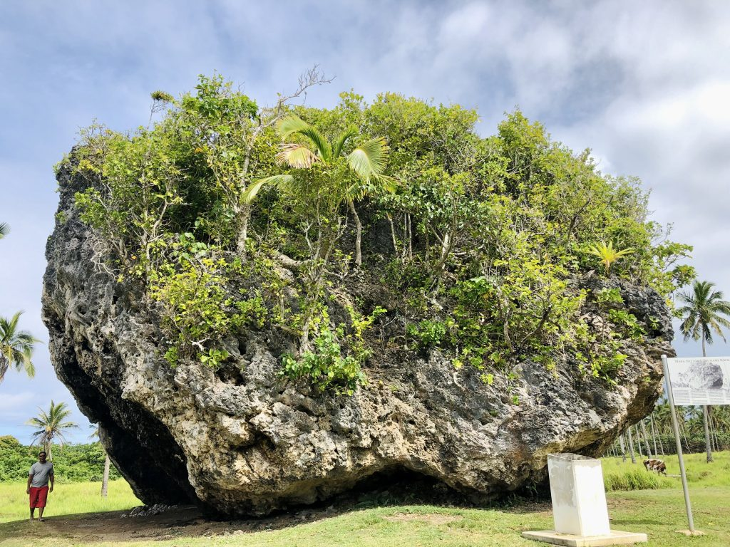 A photo of a huge rock that was formed from tsunami debris in Nuku'alofa