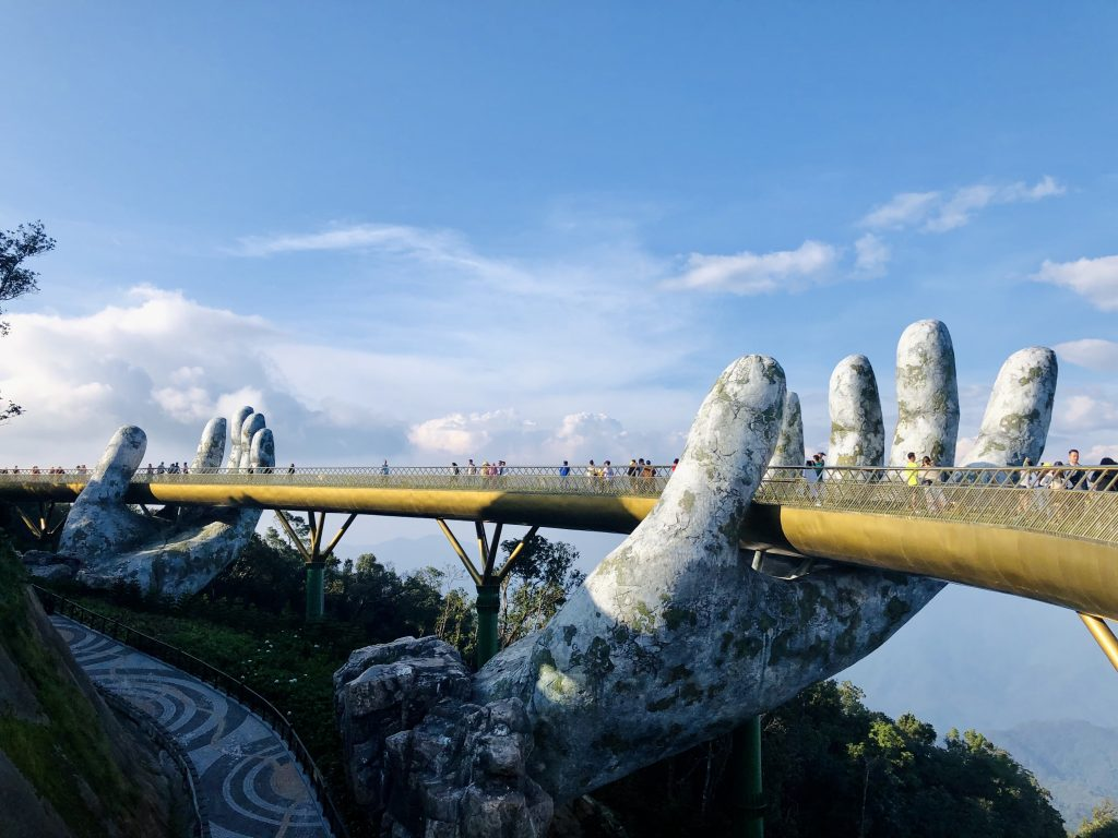 A photo of the infamous Golden Bridge in Vietnam