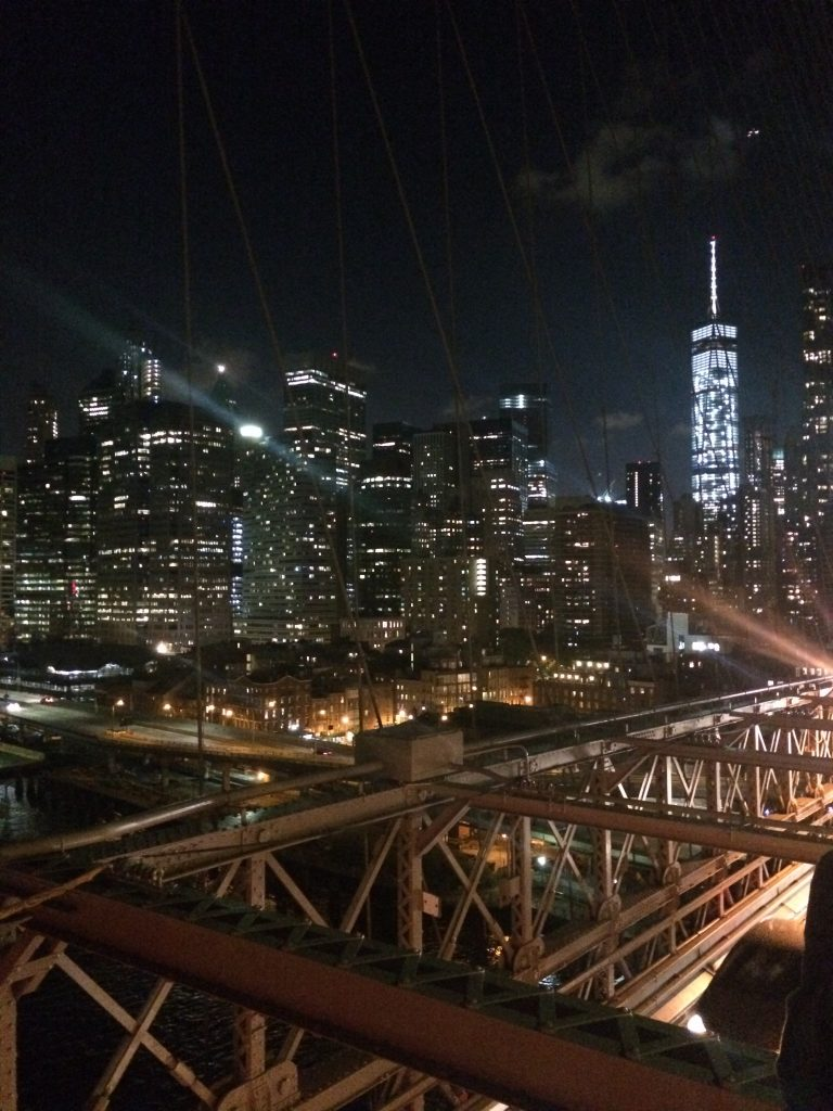 Brooklyn Bridge at night for a three-day itinerary for New York City