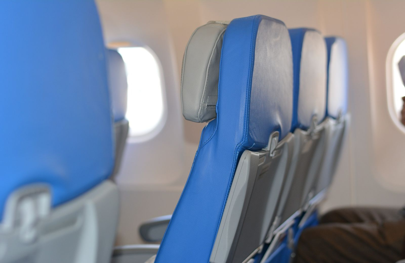 Seat table on airplane to avoid getting sick when you fly.