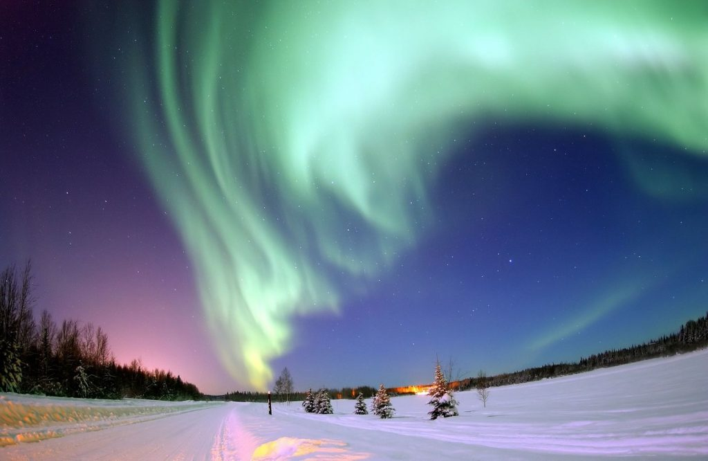 One of the prettiest USA Christmas destinations is North Pole, Alaska.