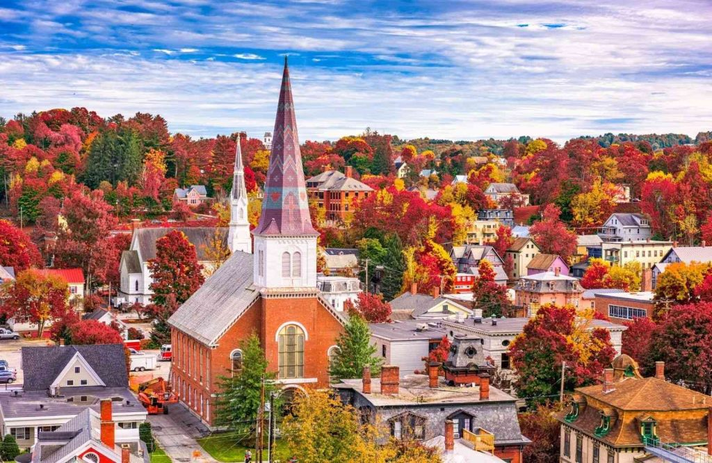 Montpelier is a pretty place to visit on your New England road trip itinerary especially during fall.