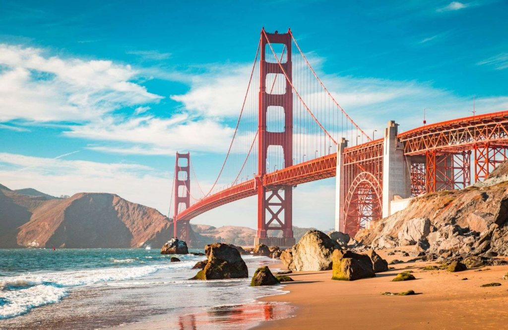 A United States bucket list includes the Golden Gate Bridge in San Francisco.