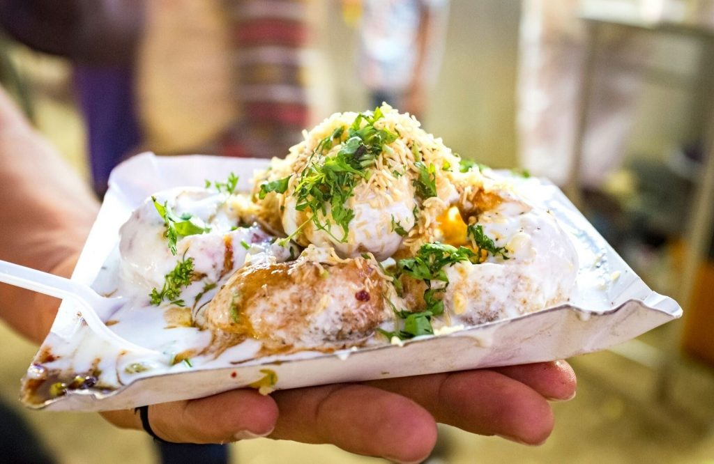 One of the best Indian street food dishes in Dahi Puri.