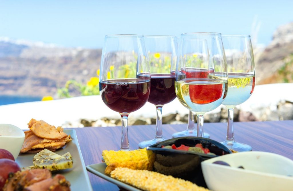 The food is delicious in both Santorini and Mykonos.