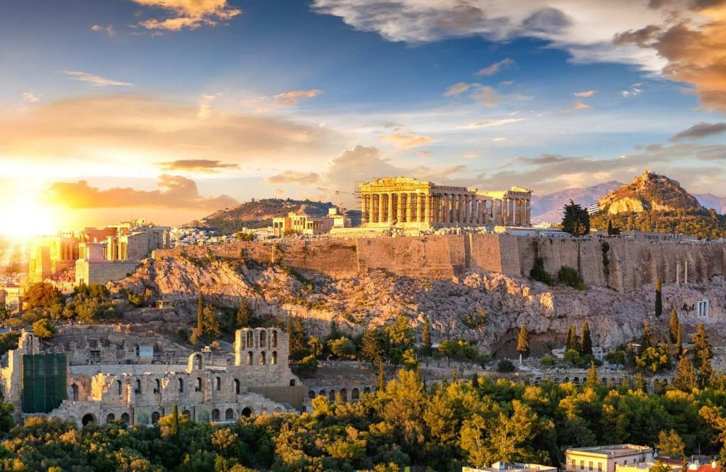 You can take an airplane from Athens to Santorini.